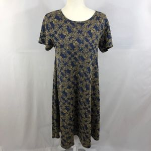 LuLaRoe Floral Blue/Gold Jacquard Carly Dress Sz S
